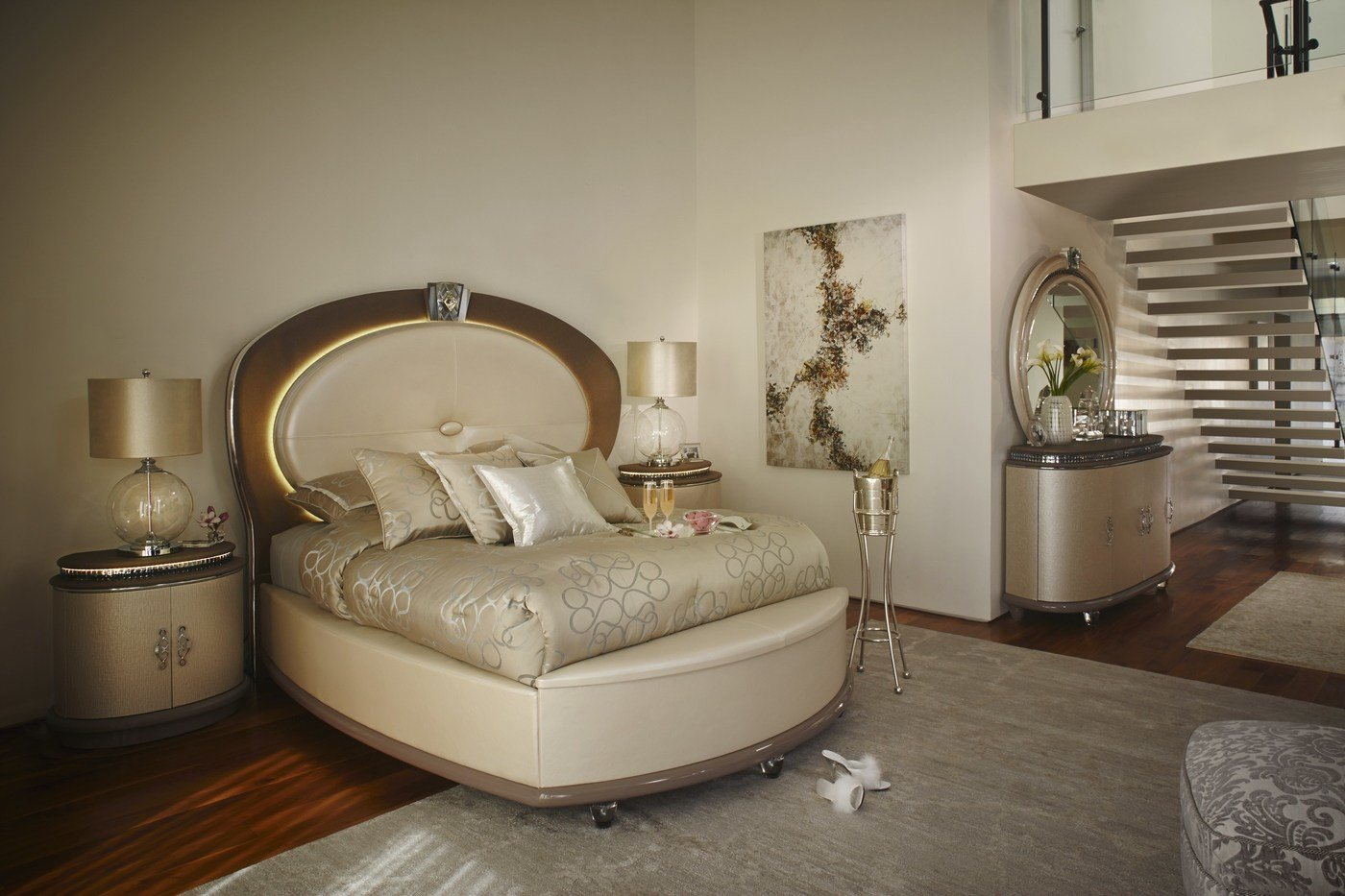 Best Overture Glamour 4 Piece King Bedroom Set In Ivory Pearl With Pictures