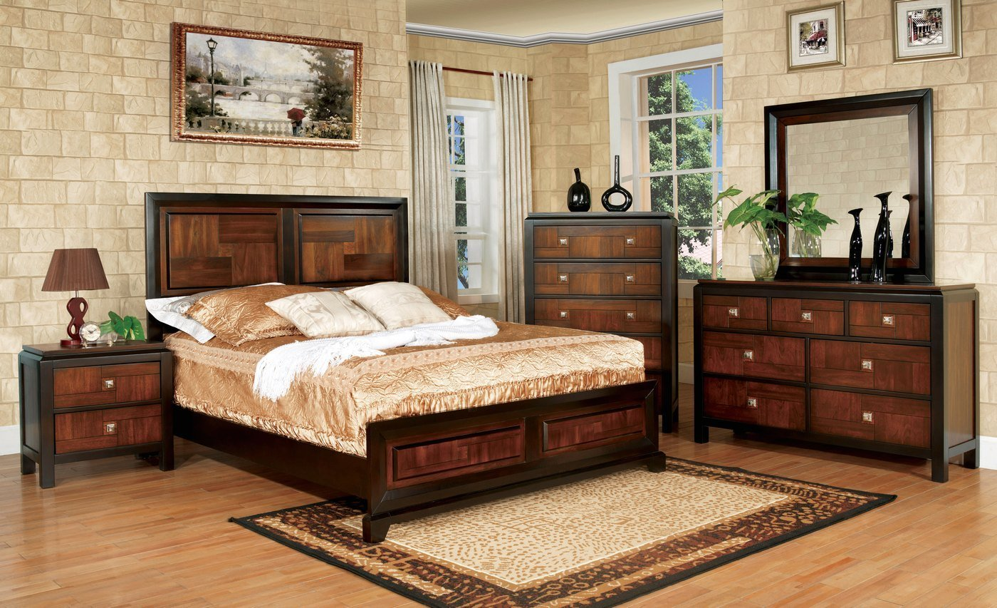 Best Patra Acacia And Walnut Panel Bedroom Set With Square With Pictures