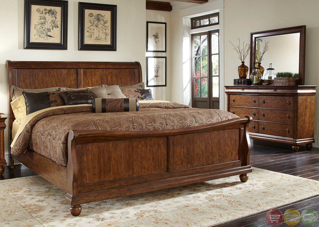 Best Rustic Traditions Cherry Sleigh Bedroom Furniture Set With Pictures