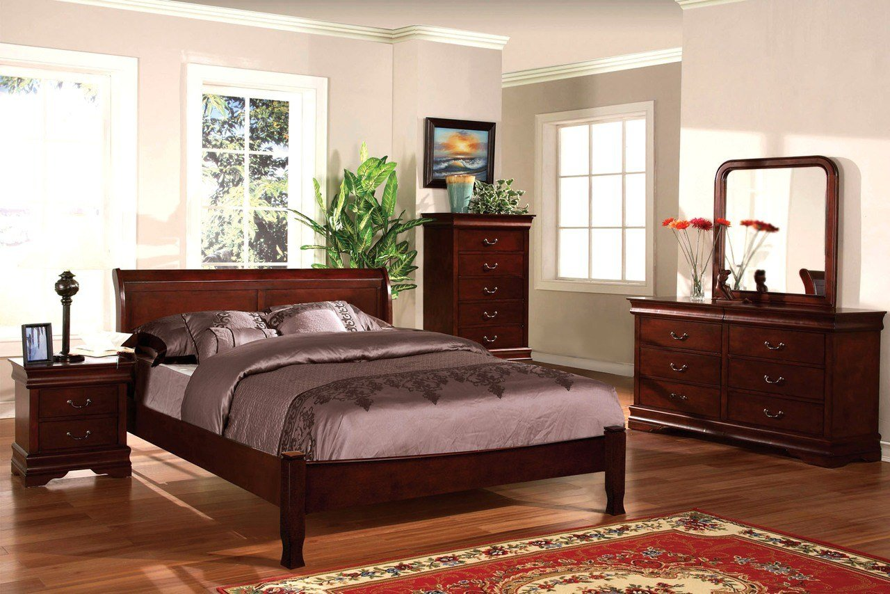 Best Saint Anne Traditional Cherry Sleigh Bedroom Set With With Pictures