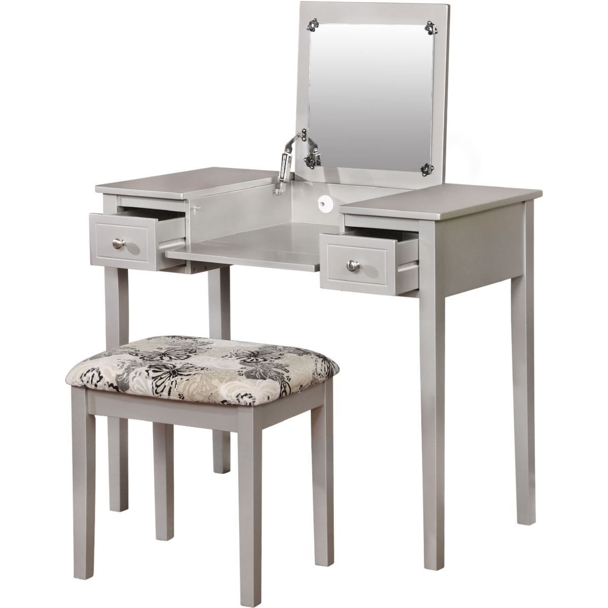 Best Silver Butterfly Bedroom Vanity Set With Flip Top Mirror With Pictures
