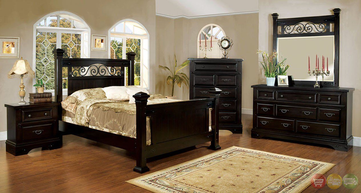Best Sonoma Country Espresso Poster Bedroom Set With Rod Iron With Pictures