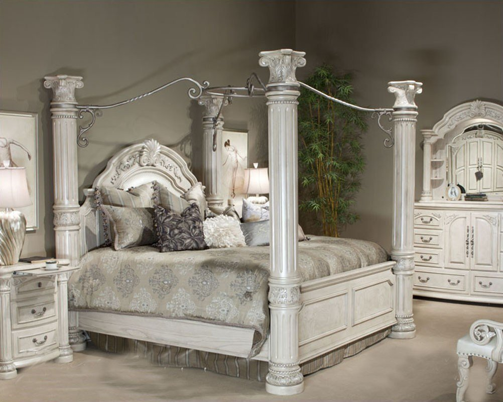 Best Aico Poster Bedroom Set Monte Carlo Ii In Silver Pearl Ai With Pictures