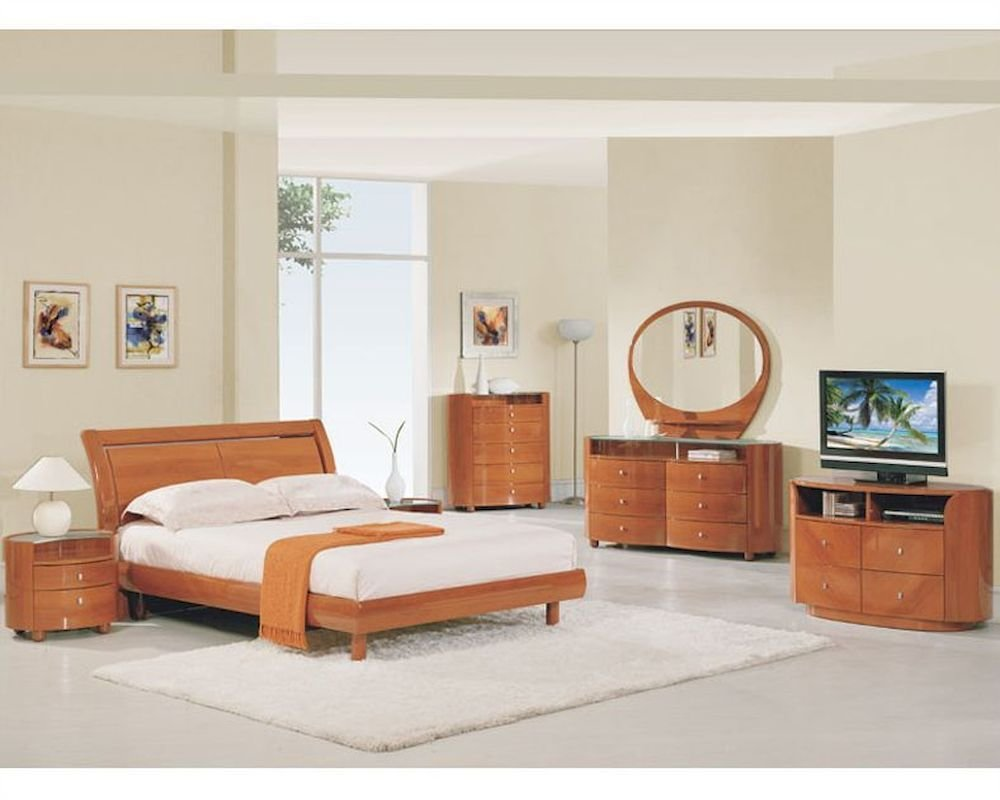 Best Modern Bedroom Set Elma In Cherry Finish 35B11 With Pictures