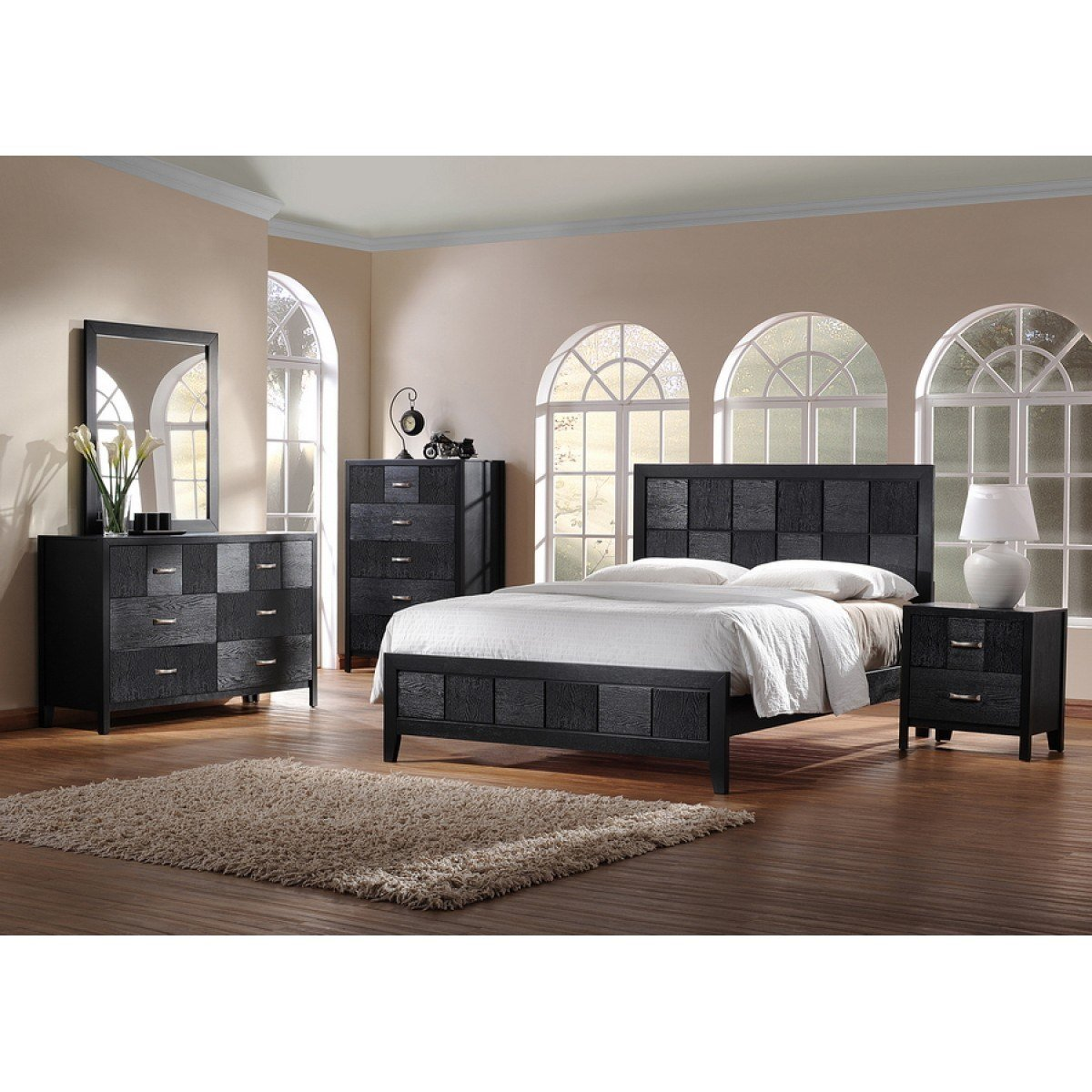 Best Montserrat Black Wood 5 Piece King Size Modern Bedroom Set With Pictures