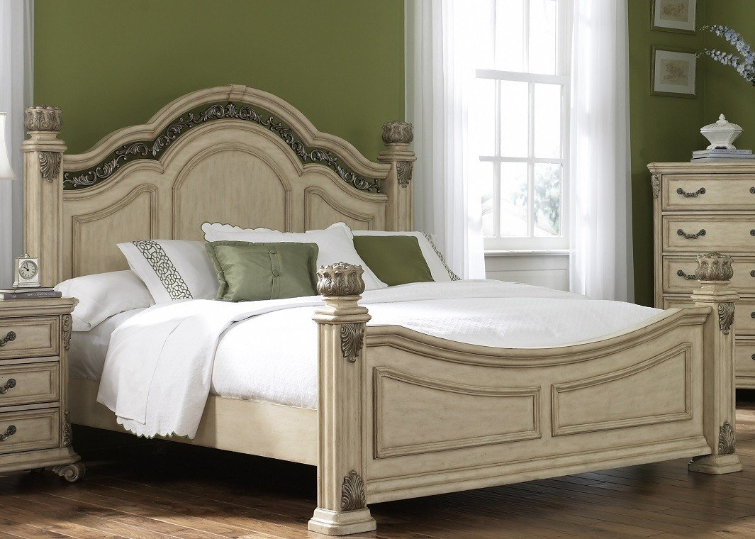 Best Bedroom Set With Hardwood Solids Birch Veneers Wood And Antique Ivory Finish With Pictures