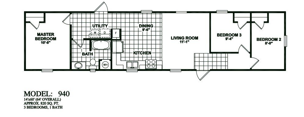 Best Model 940 14×60 3Bedroom 1Bath Oak Creek Mobile Home With Pictures
