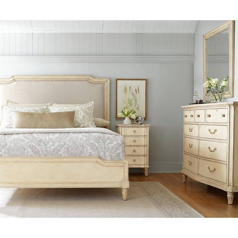 Best Stanley European Cottage Queen Upholstered Bed In Vintage With Pictures