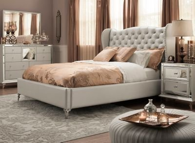 Best Hollywood Loft 4 Pc Queen Bedroom Set Frost Mirrored With Pictures