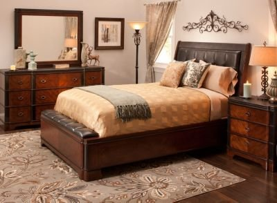 Best Dundee 4 Pc Queen Bedroom Set Cherry Black Raymour With Pictures