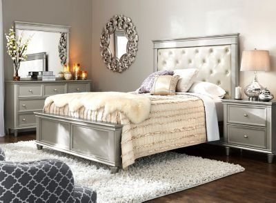 Best Tiffany 4 Pc Queen Bedroom Set Cream Silver Raymour With Pictures