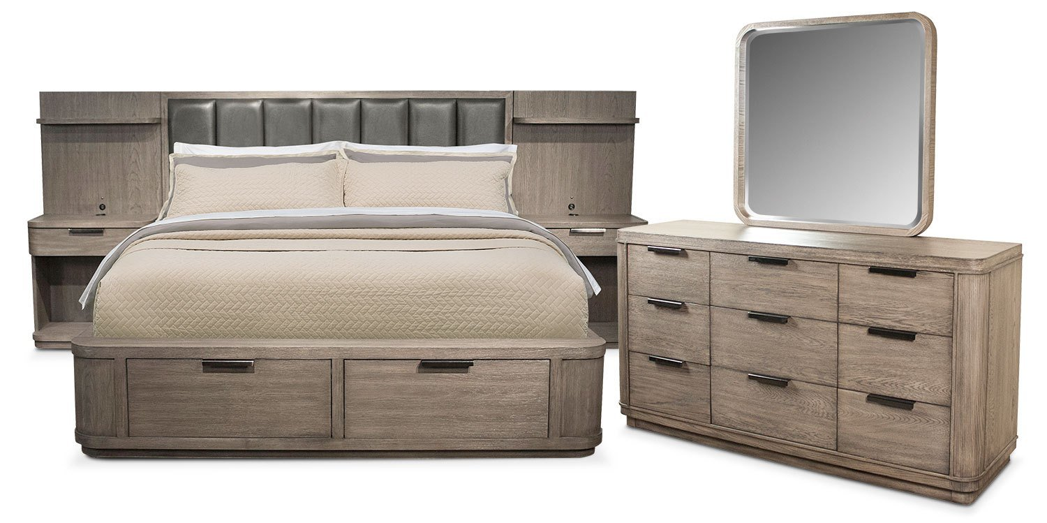 Best Malibu 5 Piece King Low Upholstered Wall Storage Bedroom With Pictures