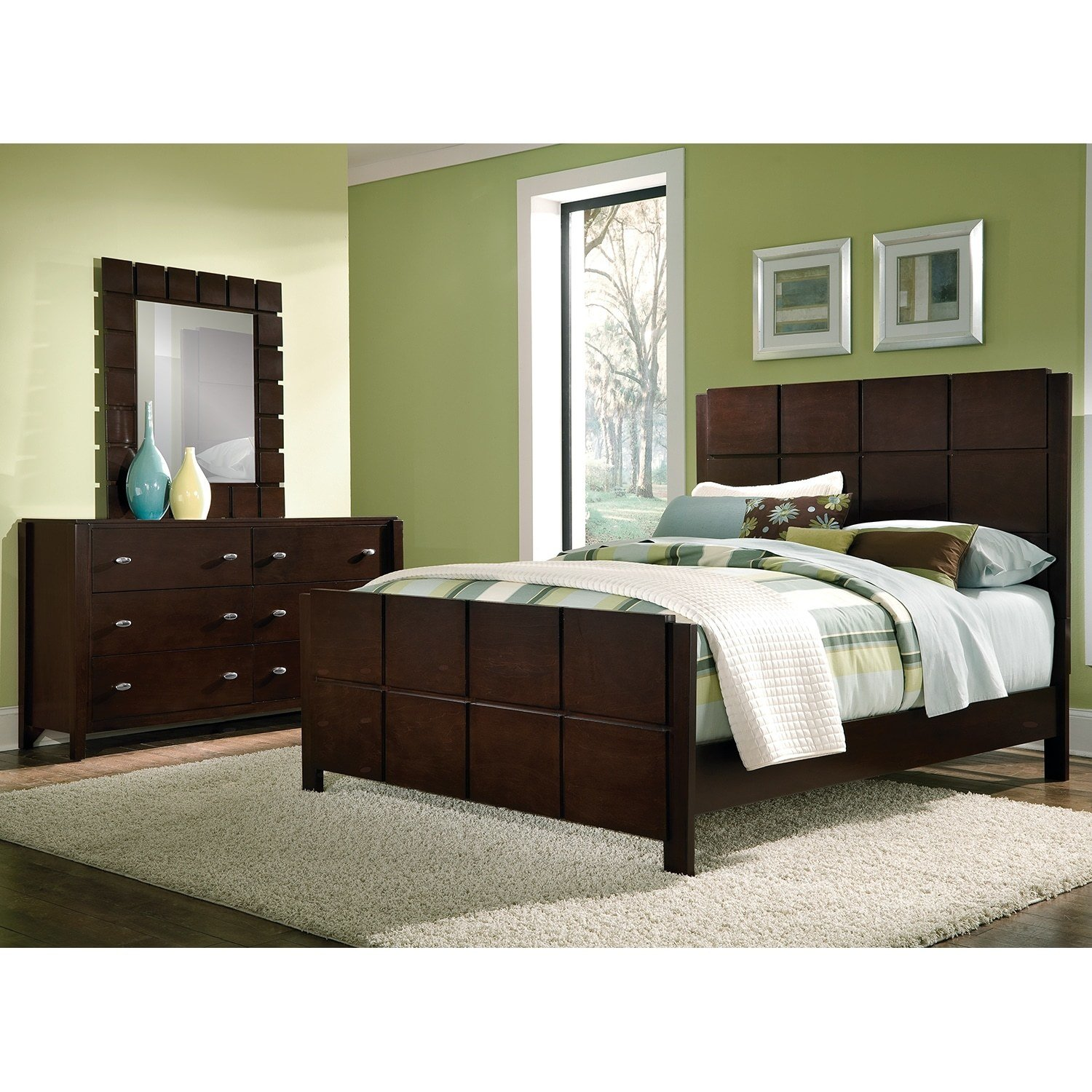 Best Mosaic 5 Piece Queen Bedroom Set Dark Brown Value City With Pictures