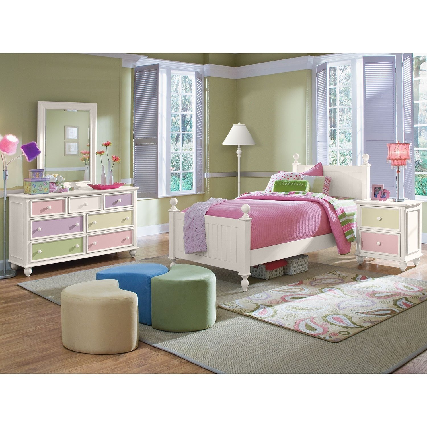 Best Colorworks 6 Piece Twin Bedroom Set White Value City With Pictures