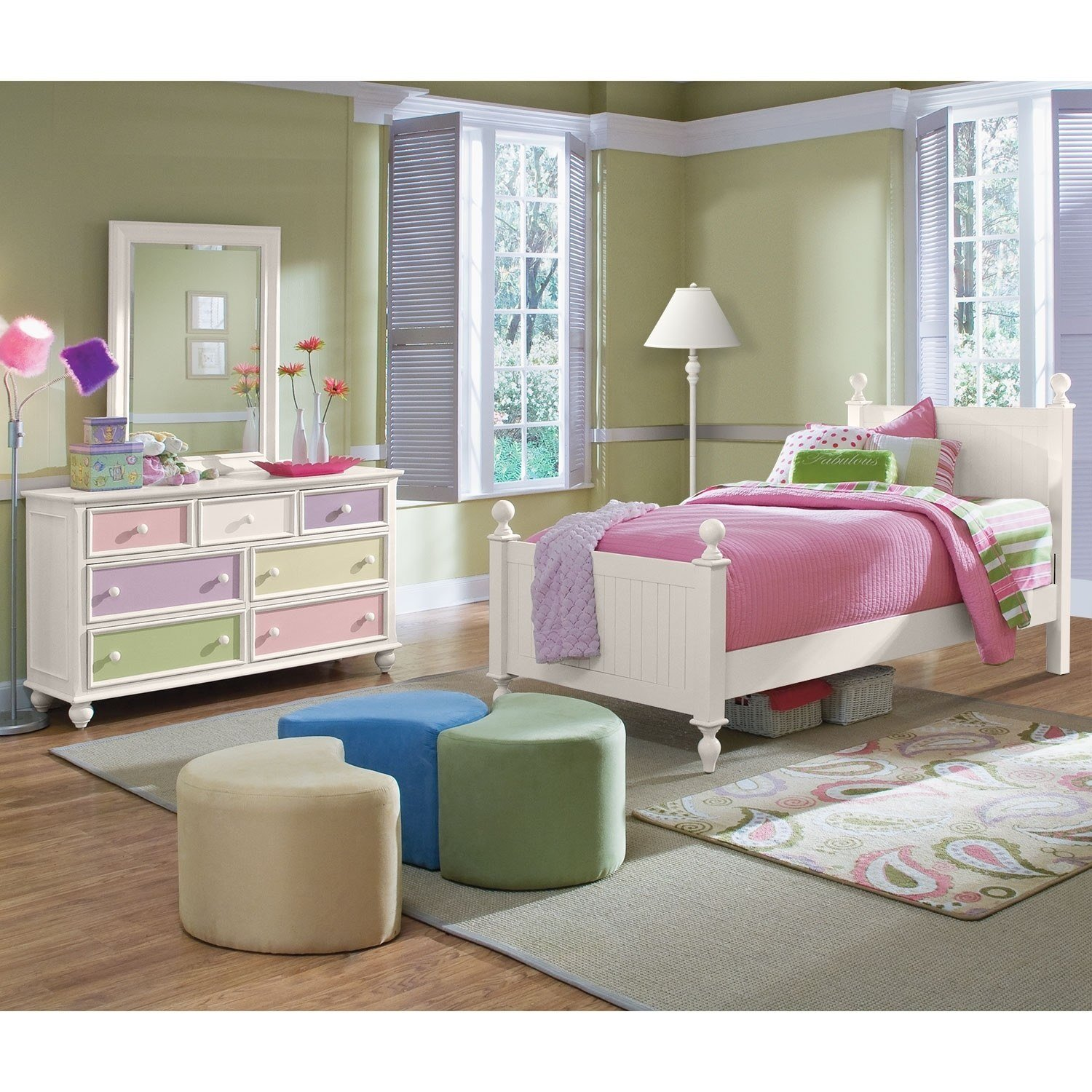 Best Colorworks 5 Piece Twin Bedroom Set White Value City With Pictures
