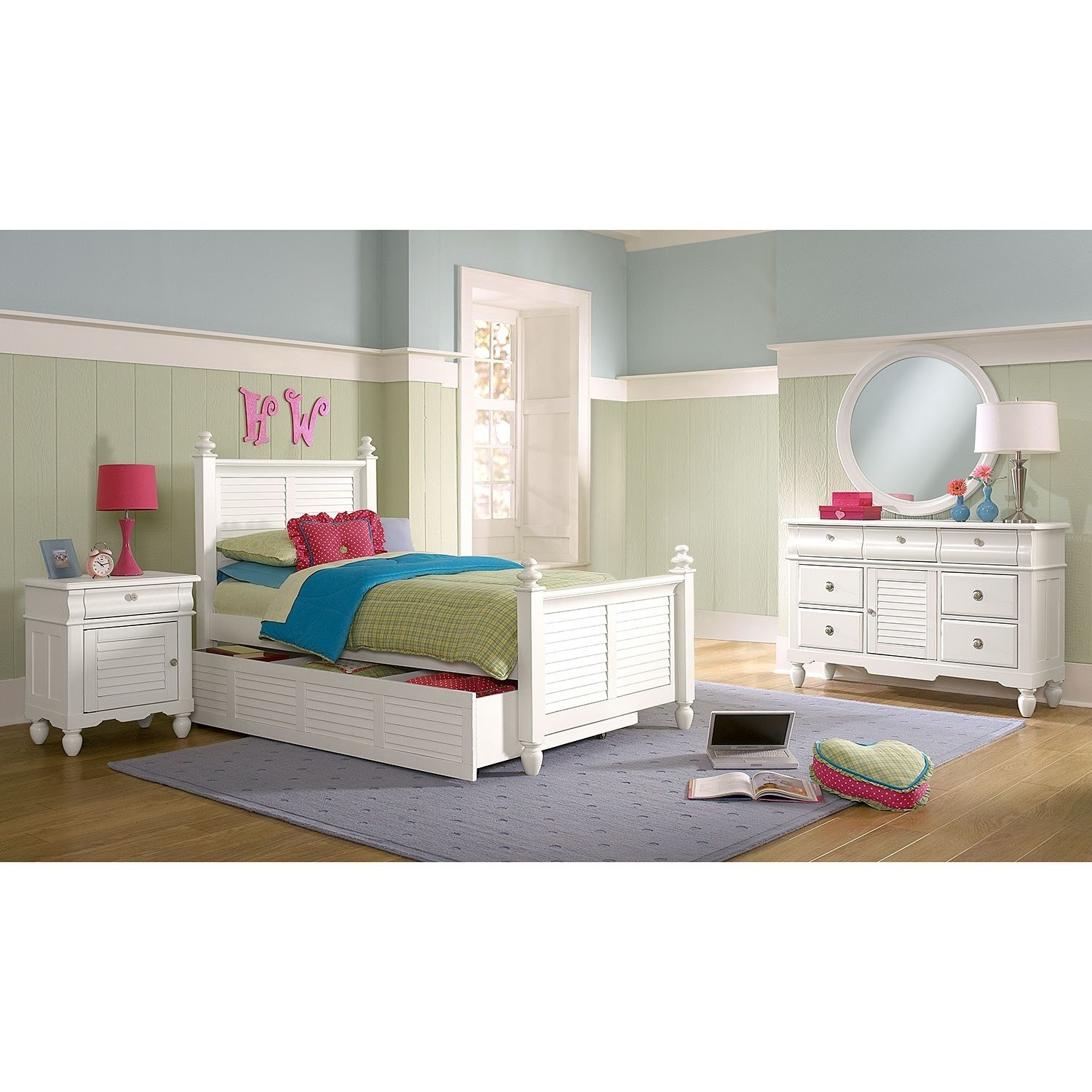 Best Seaside 7 Piece Twin Bedroom Set With Trundle White With Pictures