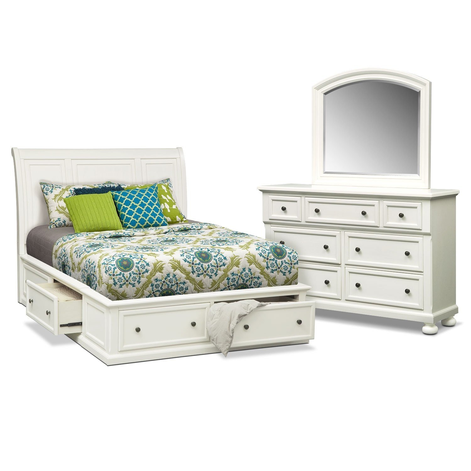 Best Hanover 5 Piece Queen Storage Bedroom Set White Value With Pictures