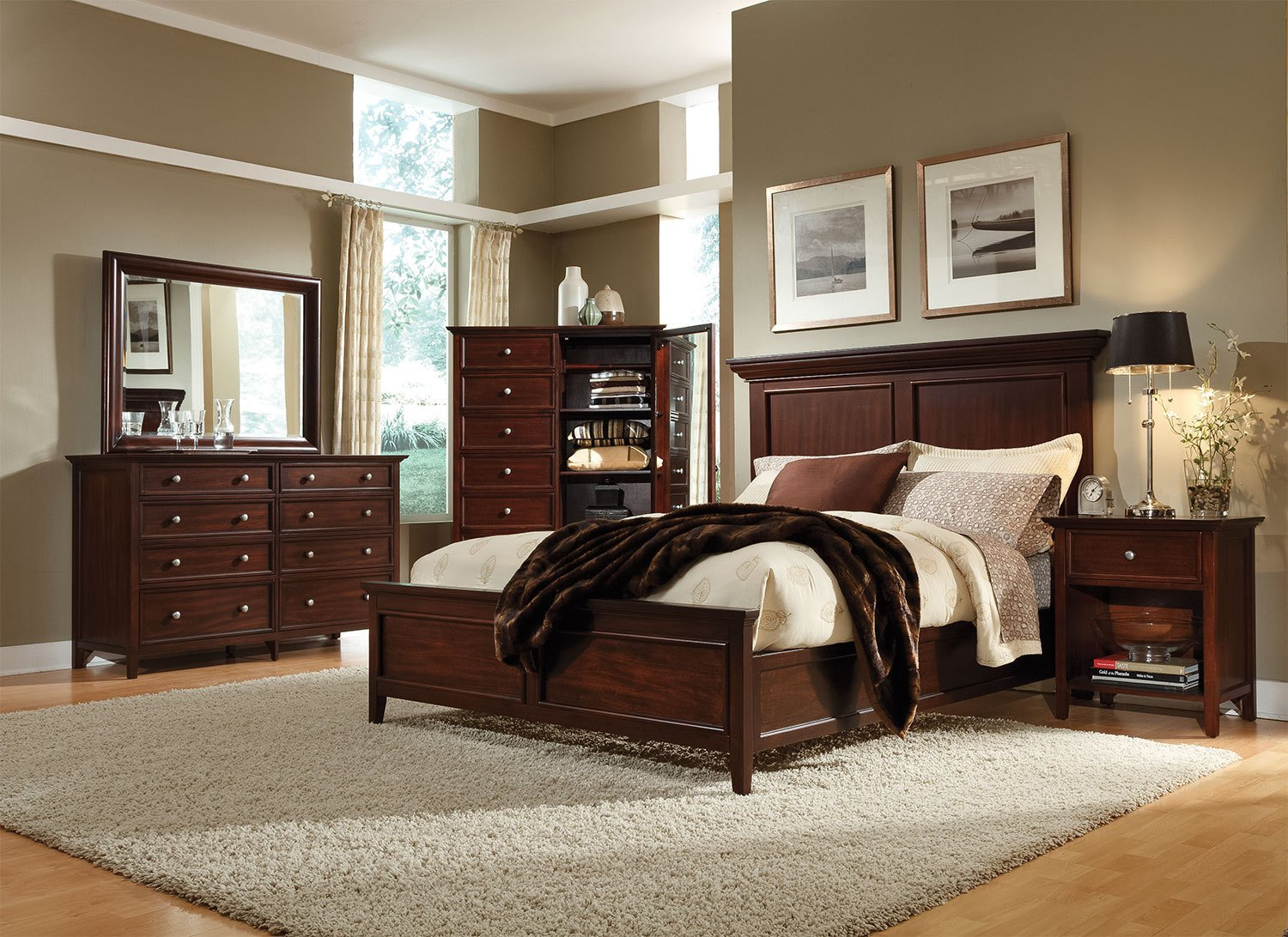Best Ellsworth 4 Piece King Bedroom Set Cherry With Pictures