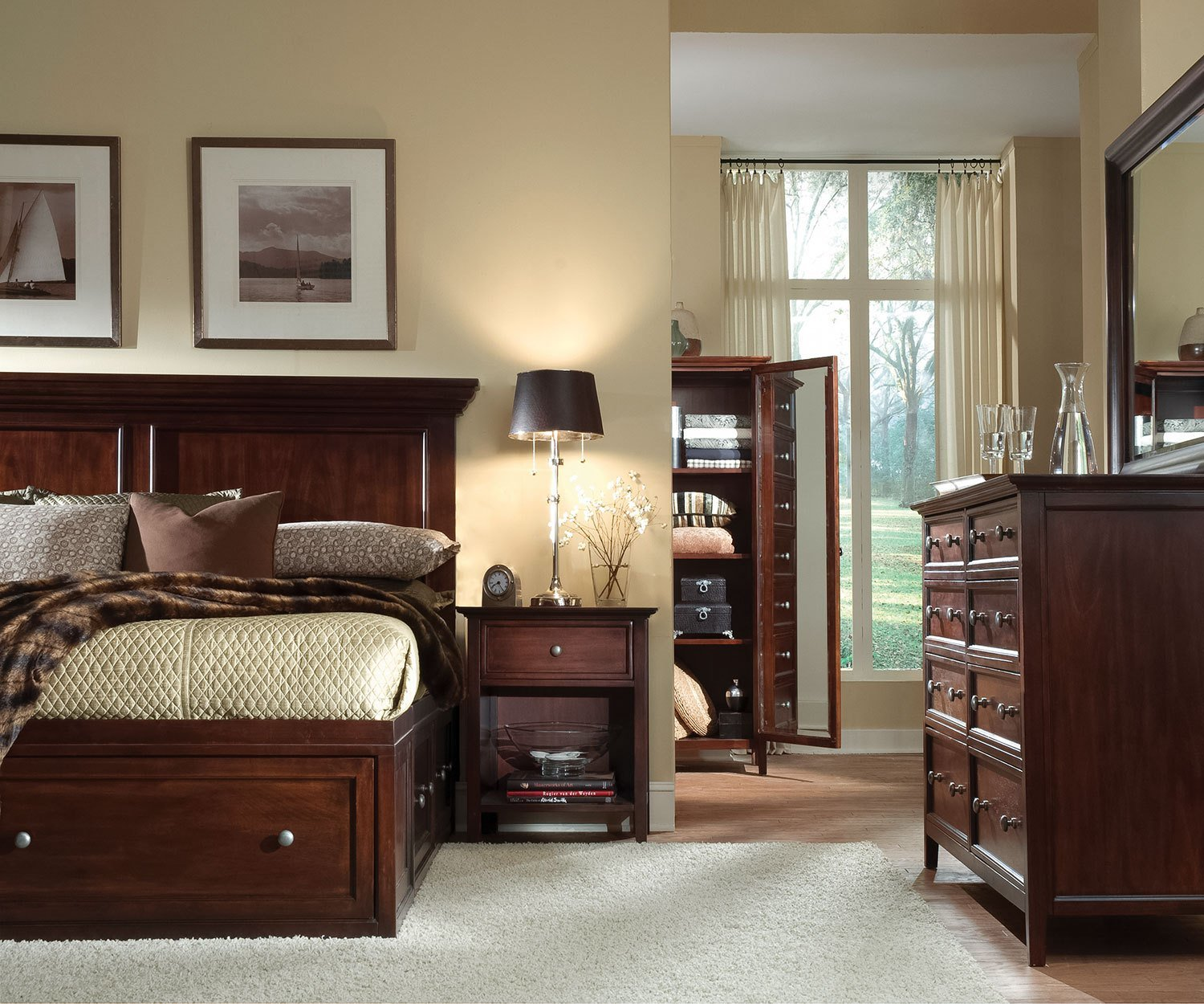 Best Ellsworth 4 Piece King Storage Bedroom Set Cherry With Pictures