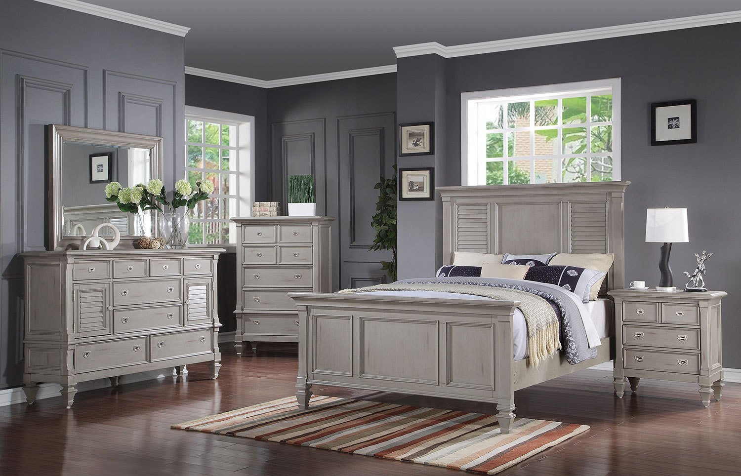 Best Brimley 4 Piece Queen Bedroom Set Grey With Pictures