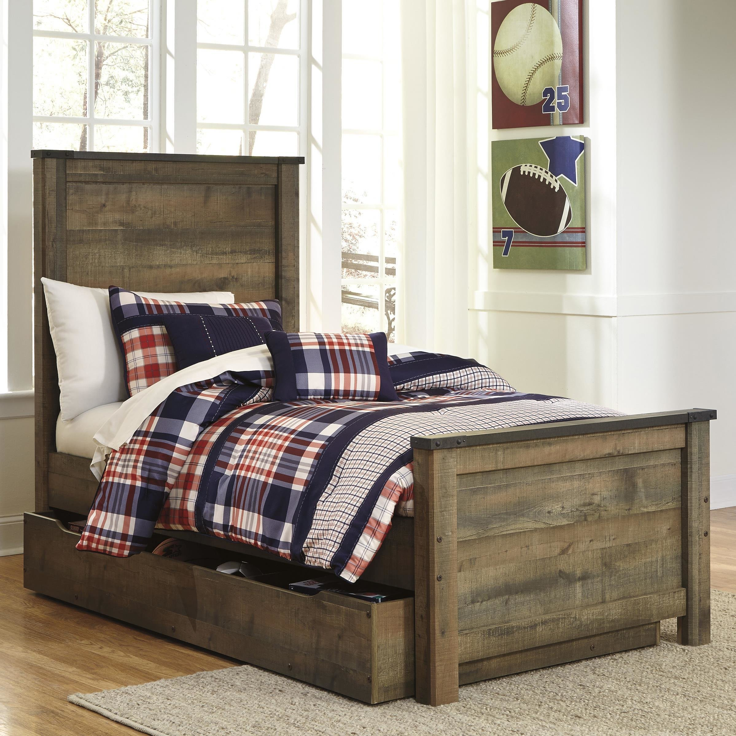 Best Rustic Look Twin Panel Bed With Under Bed Storage Trundle With Pictures