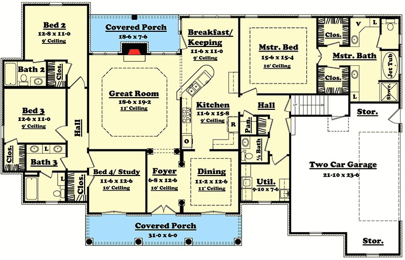Best Elegant 4 Bedroom House Plan With Options 11712Hz With Pictures