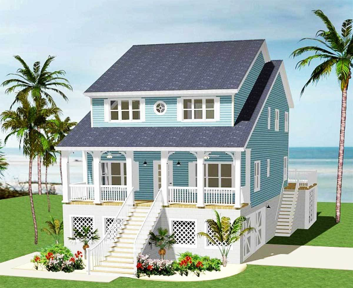 Best Five Bedroom Beach Cottage 46232La Architectural Designs House Plans With Pictures