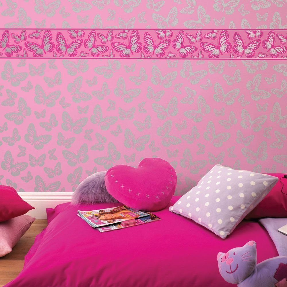 Best Girls Generic Bedroom Wallpaper Borders Butterfly Flowers With Pictures