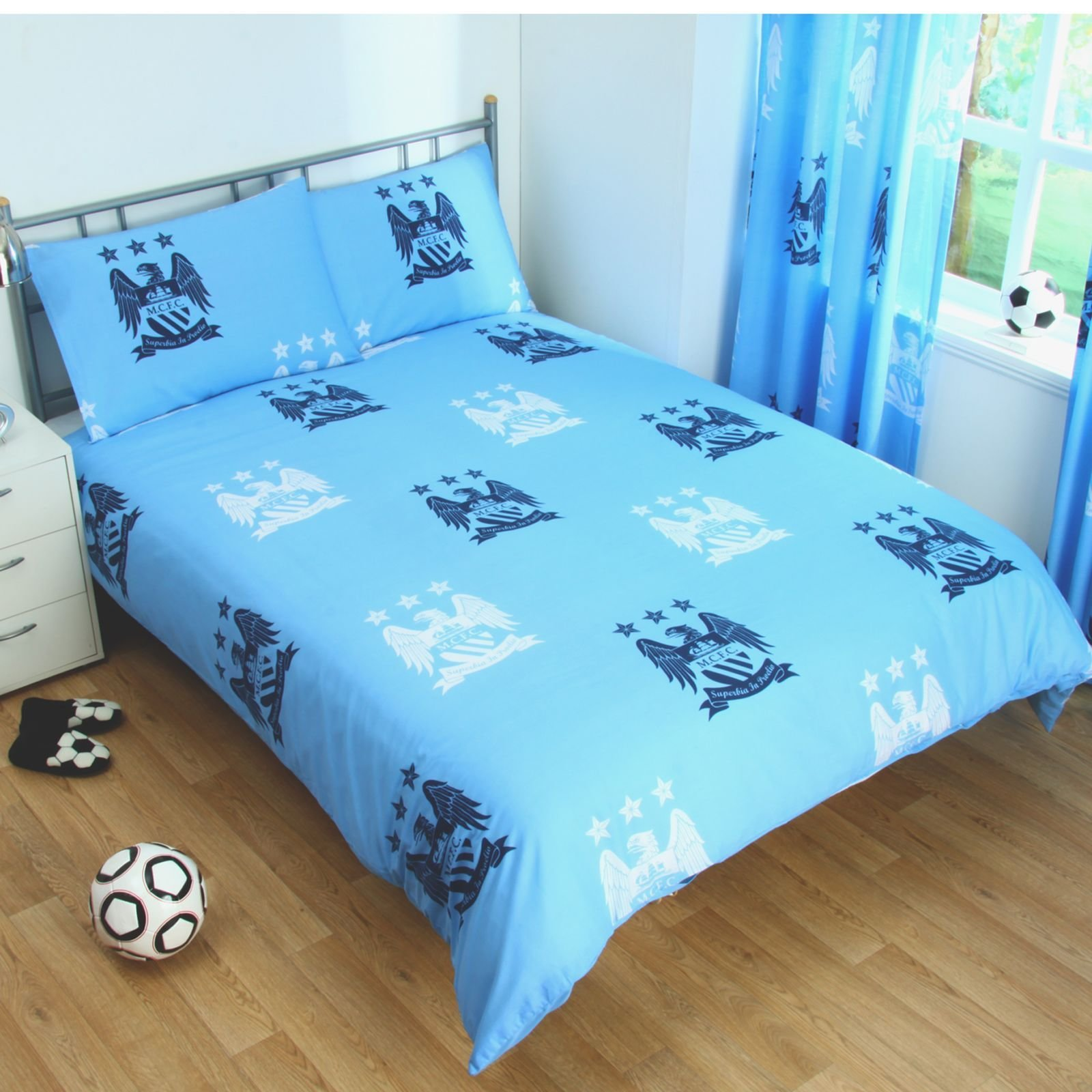 Best Manchester City Duvet Cover Sets Crest Blue Football With Pictures