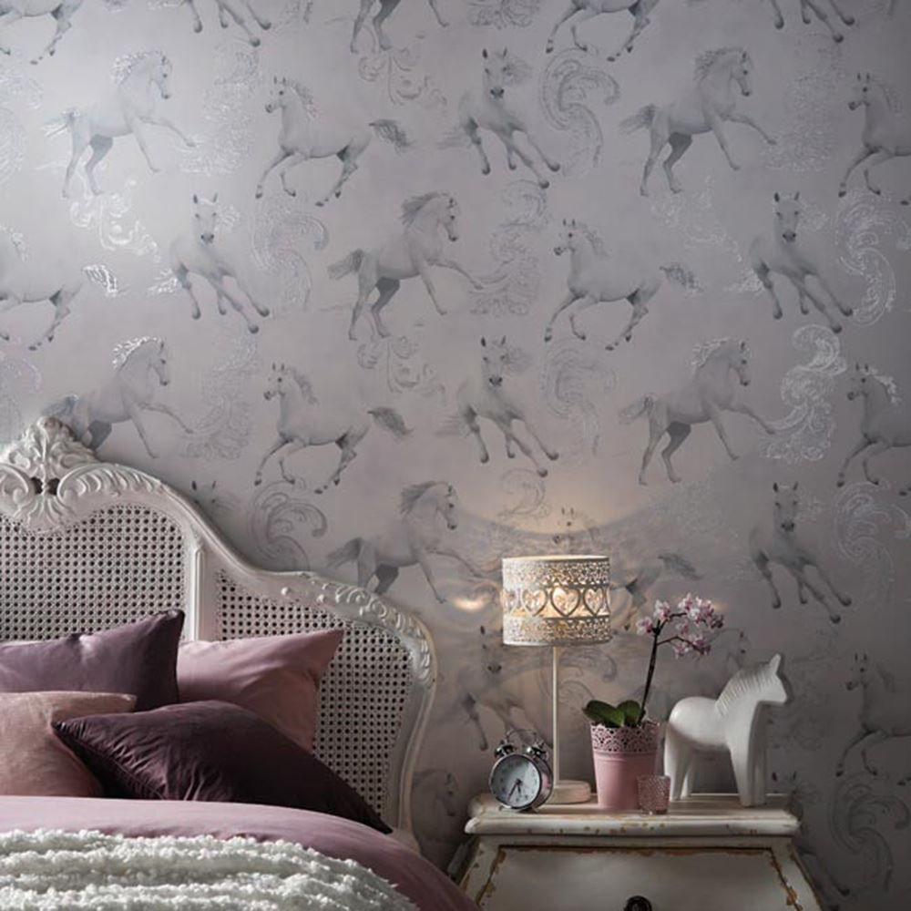 Best Girls Wallpaper Themed Bedroom Unicorn Stars Heart Glitter With Pictures