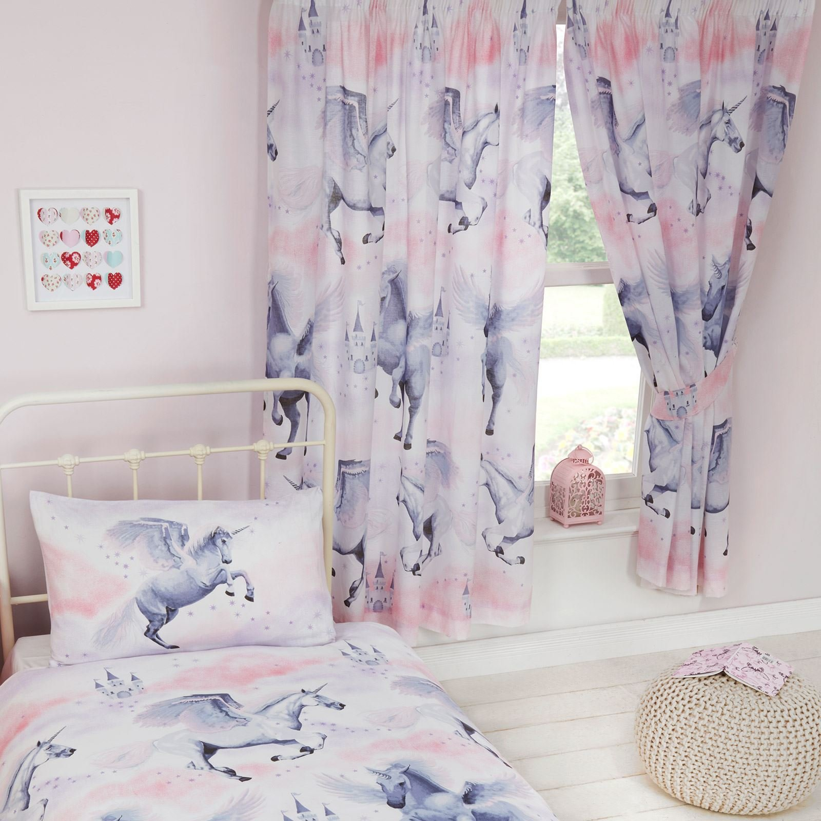 Best Girls Bedroom Curtains 66 X 72 Unicorns Ponies With Pictures