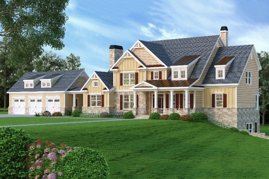 Best Craftsman Style House Plan 5 Beds 4 5 Baths 4405 Sq Ft Plan 419 147 Dreamhomesource Com With Pictures