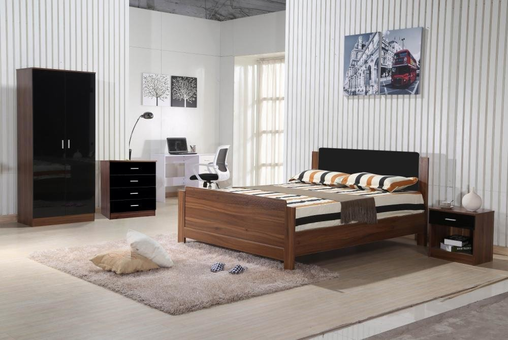 Best Walnut Black Gloss Bedroom Furniture 3 Piece Trio Set With Pictures