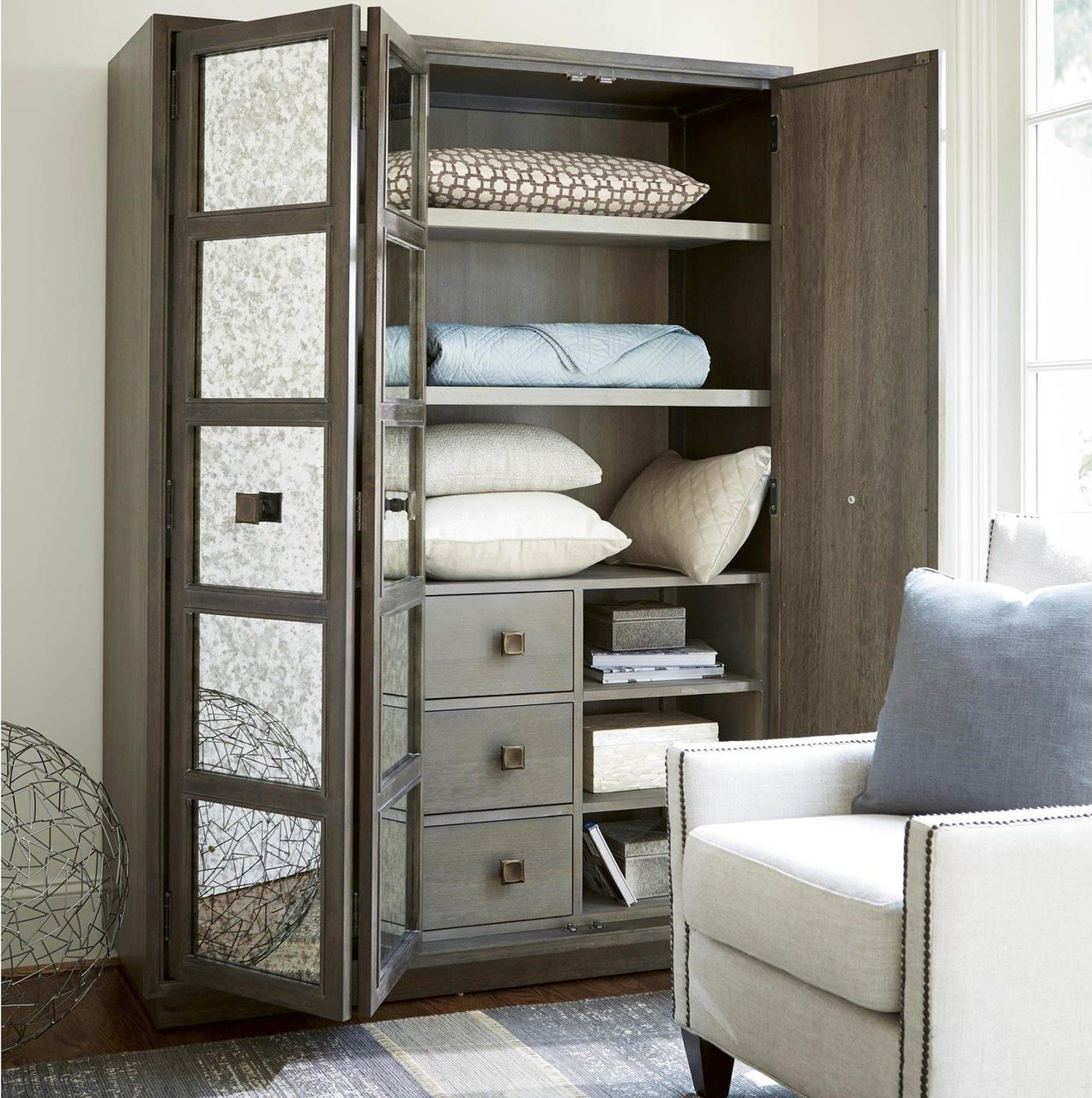 Best Playlist Antique Mirrored Armoire Wardrobe Zin Home With Pictures