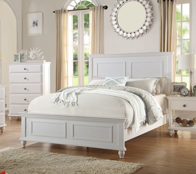 Best New Santa Barbara Coastal Style White Finish Wood Queen King Size Panel Bed Ebay With Pictures