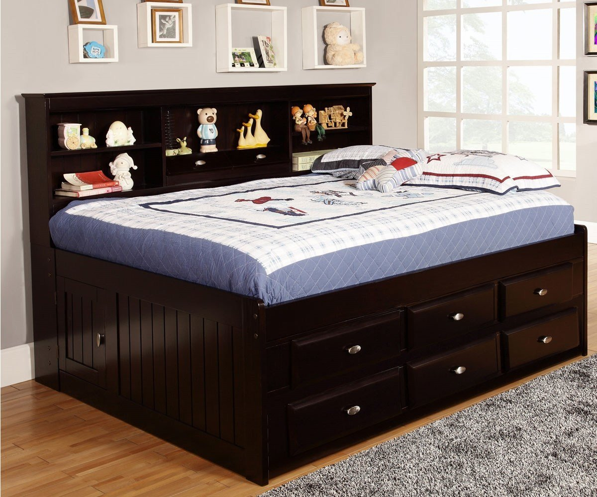 Best Full Size Bookcase Captains Day Bed In Espresso 2923 With Pictures