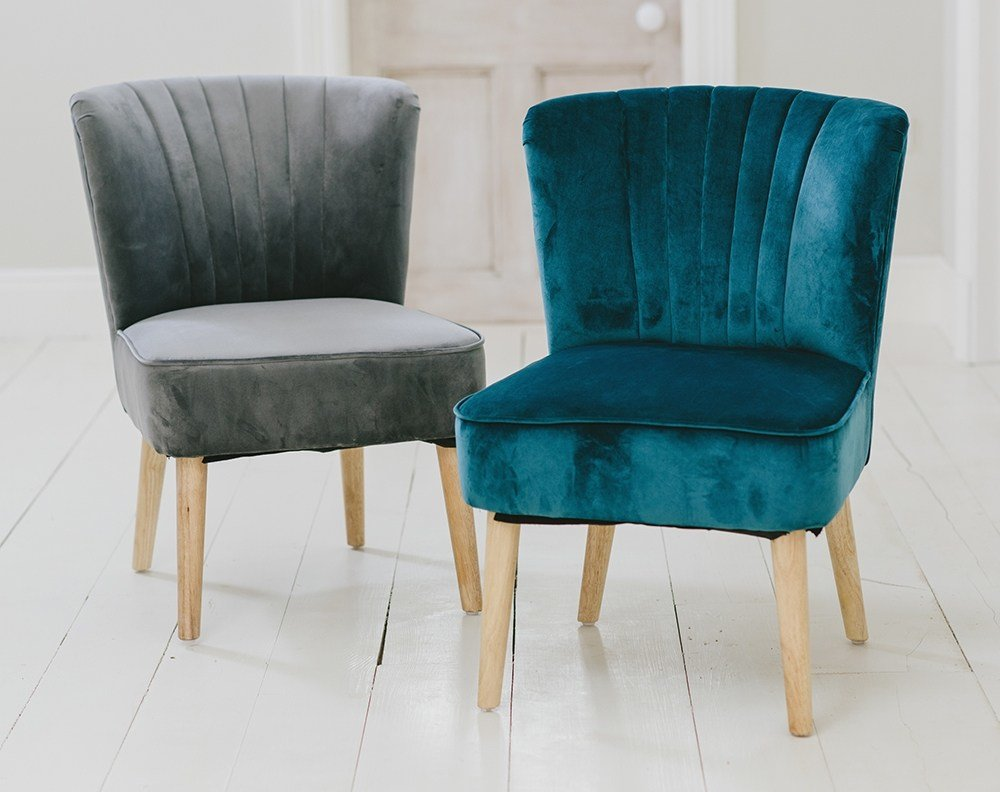 Best Velvet Oyster Occasional Chair Teal Fluted 1950 S Bedroom Living Room Accent Sta 5060495613371 With Pictures