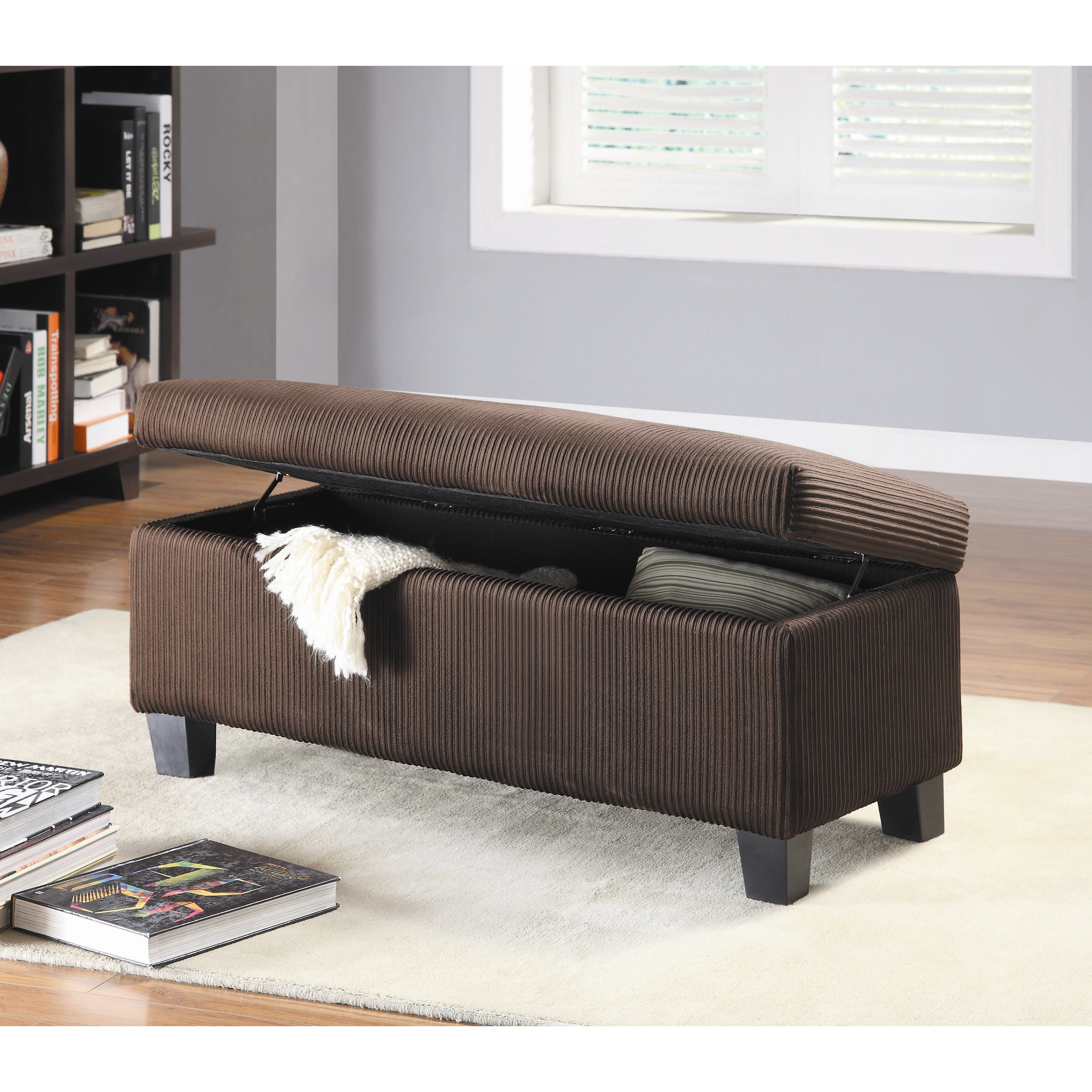 Best Woodhaven Hill Clair New Fabric Bedroom Storage Ottoman With Pictures