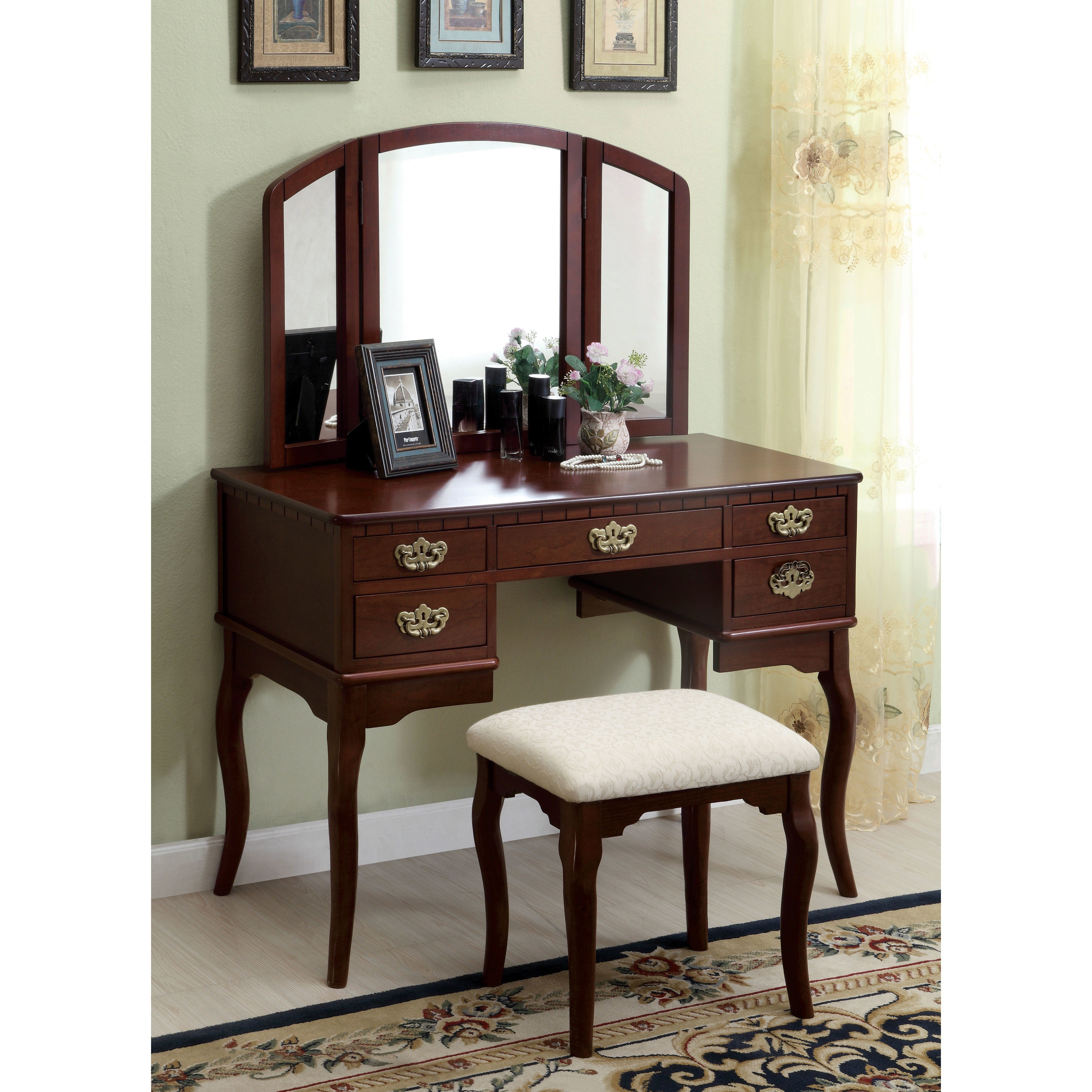 Best Darby Home Co Falconer 3 Piece Vanity And Stool Set With Pictures