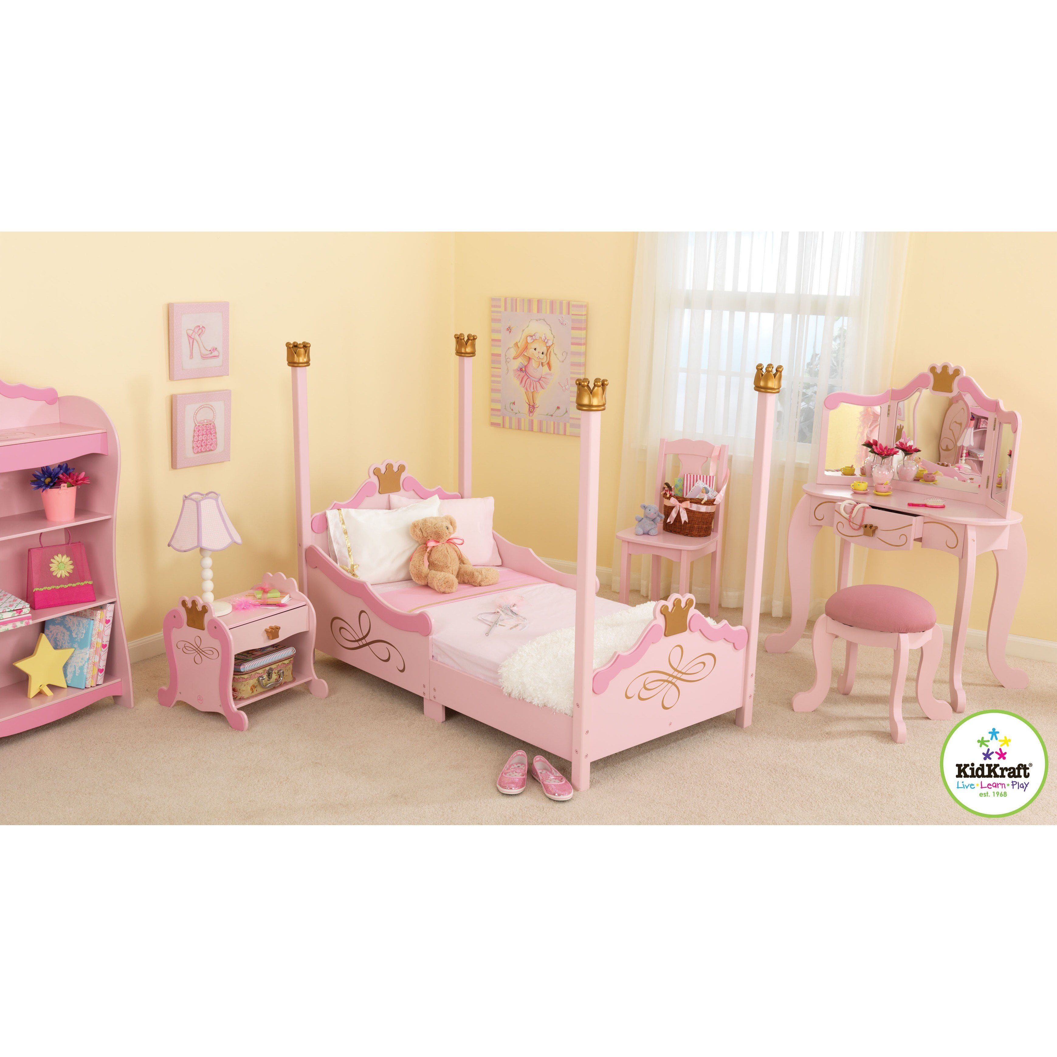 Best Kidkraft Princess Toddler Four Poster Customizable Bedroom With Pictures