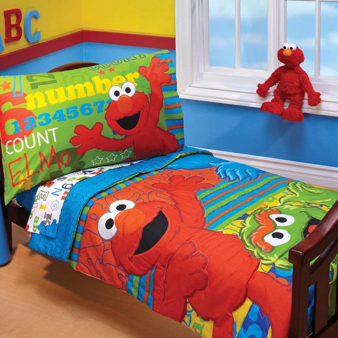 Best Sesame Street Abc 123 4 Piece Toddler Bedding Set With Pictures
