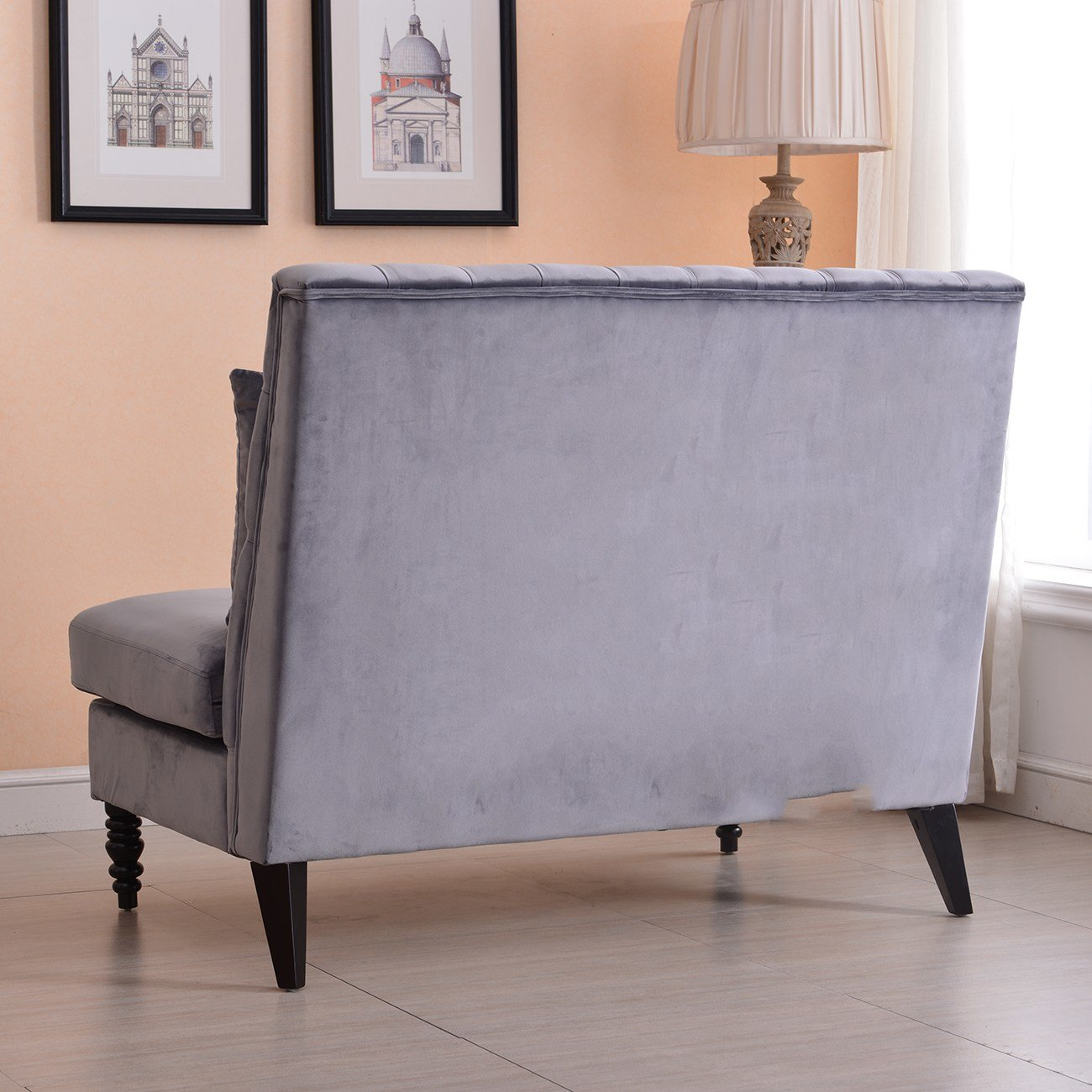 Best Velvet Modern Tufted Settee Bench Bedroom Sofa High Back With Pictures
