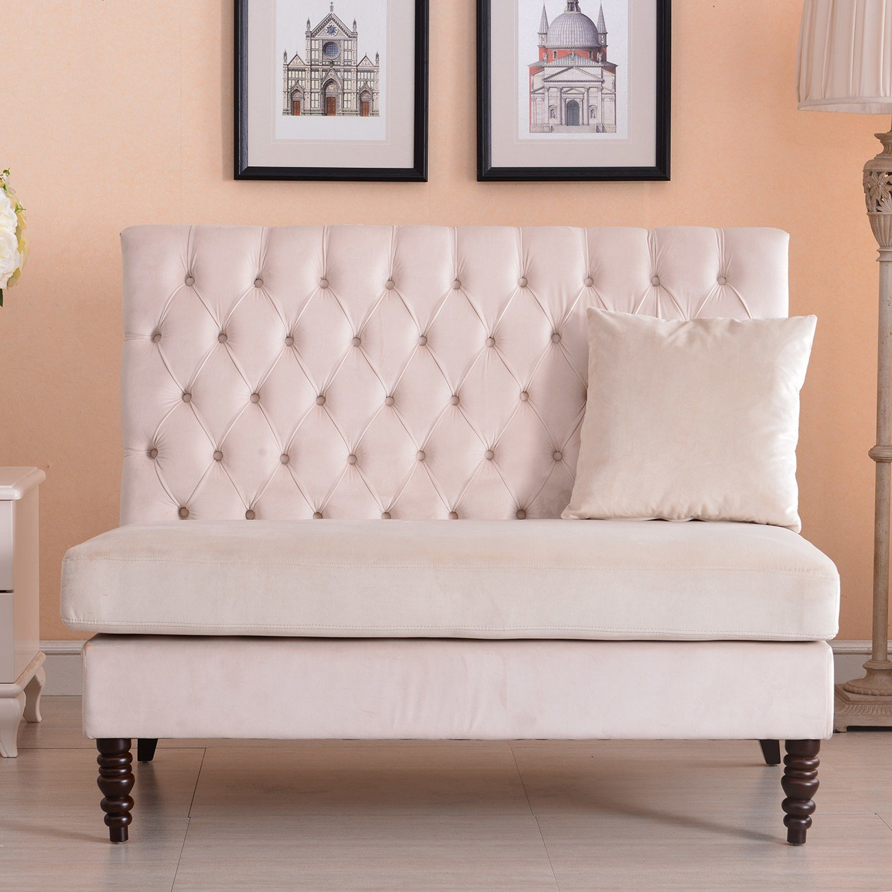 Best New Modern Tufted Settee Bedroom Bench Sofa High Back With Pictures