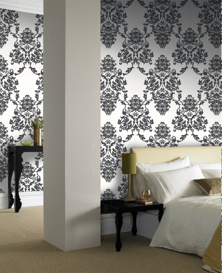 Best Interior Bedroom Decorating With Damask Wallpaper Designs With Pictures