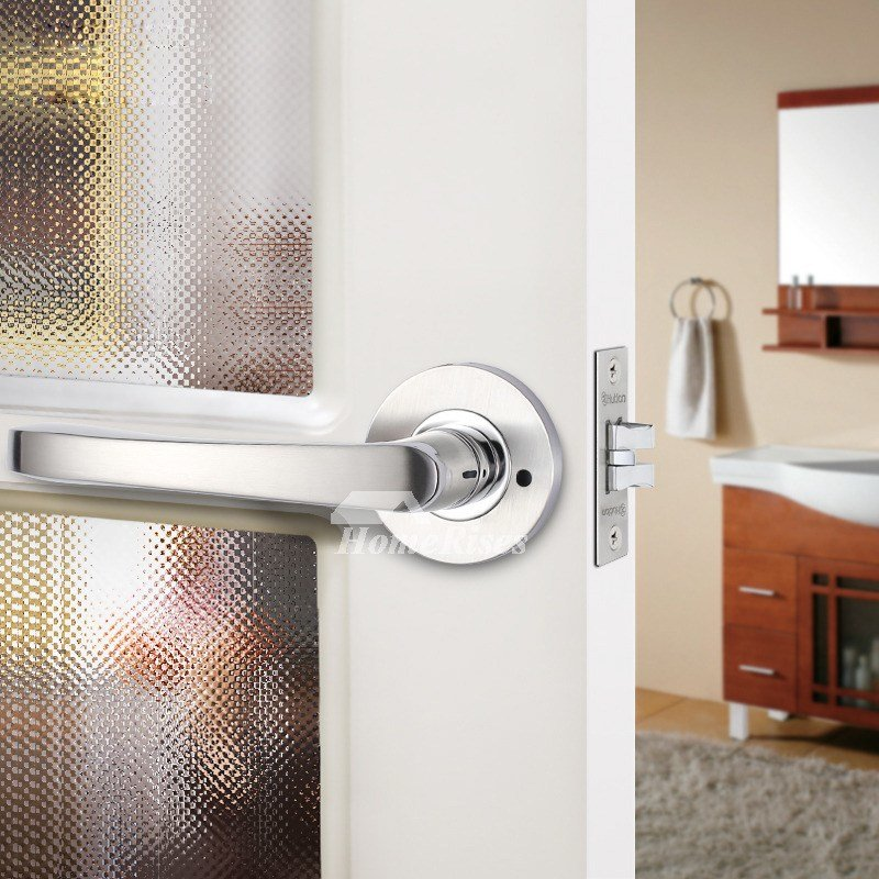 Best Bedroom Door Lock Handle Without Key Brushed Stainless Steel Silver With Pictures