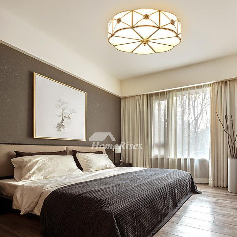 Best Bedroom Ceiling Lights Brass Glass Flush Mount Living Room With Pictures