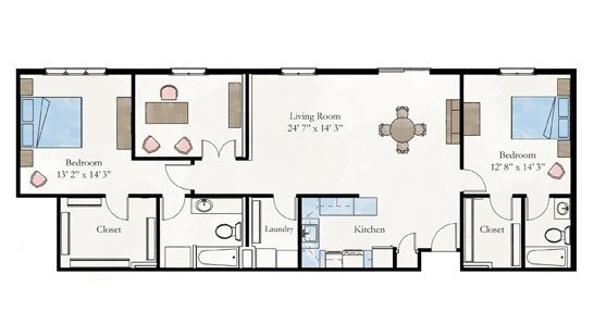 Best Two Bedroom Apartment Floor Plan Larksfield Place With Pictures