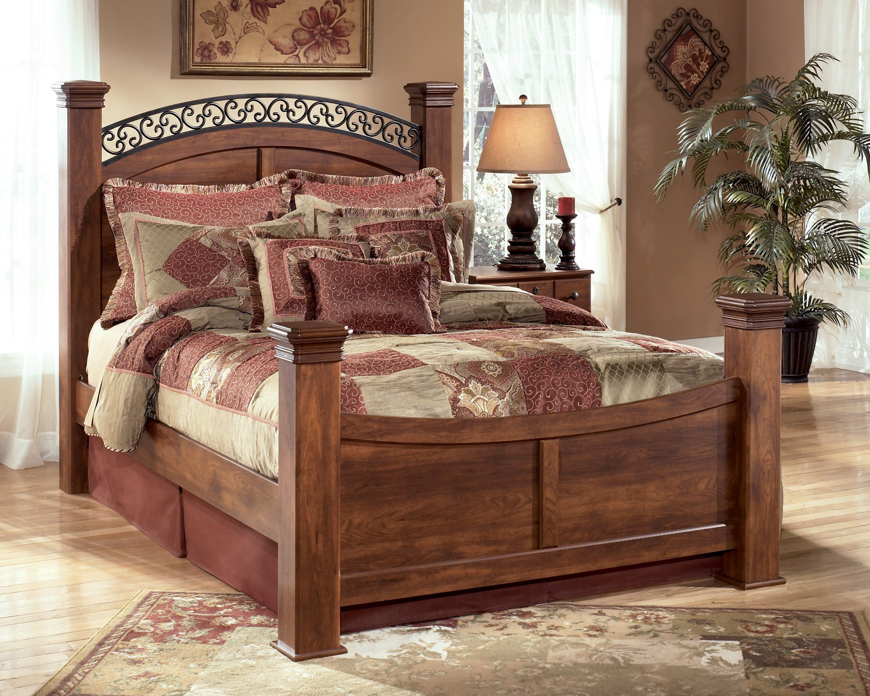 Best Timberline Warm Brown B258 4 Pc Queen Poster Bedroom Set With Pictures