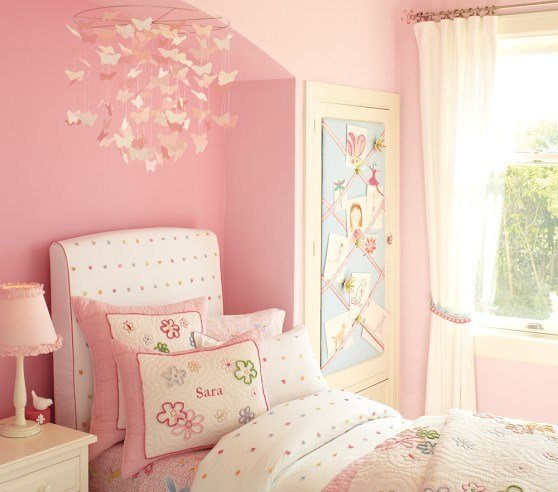 Best Pink Paper Butterfly Ceiling Mobile Pottery Barn Kids With Pictures