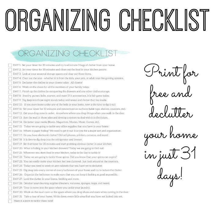Best Organizing Checklist Declutter Your Home In 31 Days With Pictures